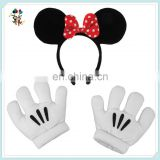 Children Unisex Party Minnie Mouse Ears Headband and Gloves Set HPC-0722