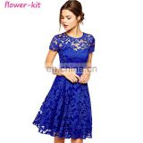 Fashion Women Summer Party Mini Dress Short Sleeve Blue Red Black Lace Dresses Lady Dress