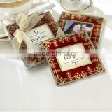 Square golden glitter photo insert coaster glass photo coaster glass coaster manufacturers