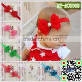 hot selling china wholesale crystal headbands rose flower bow with pearl hair accessories MY-AC0065