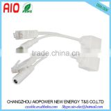 1 to 2 RJ45 Female to RJ45 Male + DC Connector Power Over Ethernet POE Adapter Cable - White