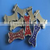 Zinc Alloy Metal Diamante Bone Shape Charms with 10mm Inner Hole Size