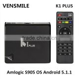 Vensmile K1 PLUS Smart tv box 3G USB dongle Amlogic S905 Quad core Android 5.1.1 tv box K1 PLUS