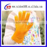 2014 safety work kitchen silicone oven gloves with fingers / microwave oven gloves / cooking silicone dishwashing gloves