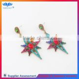 Wholesale women's colorful rhinestone drop earrings fashion alloy star design earring