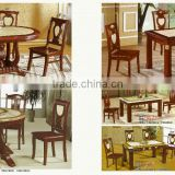 Marble top tea table set with wood side