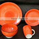 "16pcs crokery dinner set full red color printing, 16pcs ceramic dinner sets with 5.5"" bowl"