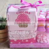 2015 Newest Fashion Design, cute Cup Cake Newborn Baby Cloth Gift Set, elegant gift box packing.