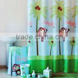 Polyester shower curtain with matching hamper set, cartoon super monkey design childlike bathroom set