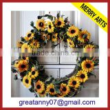 Yiwu Manufacturers new style design artificial fake flower work wreath supplier wholesale
