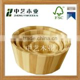 Wood craft new fashion unfinished handmade 4 set of wooden bath buckets