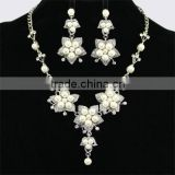 Sliver Plating Beautiful White Pearl Flower Shape Necklaces Set african wedding jewelry set
