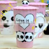 2015 new style fashion print ceramic sublimation Cup Set with lid coffee mug