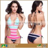 Womens Charming Halter One Piece Bikini Striped Printed Monokini Swimsuit