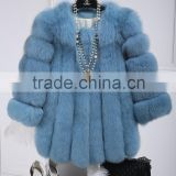 New Collection High Quality Popular Blue Fox Fur Coat for Winter Fashion Ladies