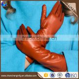 Multifunctional soft women wool lined sheepskin leather gloves long leather gloves with low price