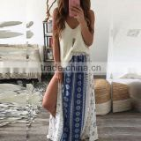 Wholesale Alibaba 2016 Summer Fashion Women Ethnic Printed Boho Skirts Ladies Casual Side Slit Long Skirt