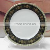 Chinese half black decal fine PORCELAIN DINNER PLATE