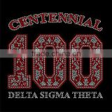 100 centennial Greek Letters Delta Sigma Theta AKA Sorority Hot Fix Rhinestone Iron On Transfer