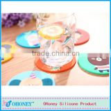 Eco-friendly FDA LFGB standard cartoon Romany cup mat food grade silicone cup mat silicone cup coaster