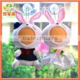 3D doll face plush doll pink rabbit wedding gift bride and groom-25cm