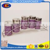 S/6 arts design base glass spice jar set