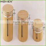 Handcrafted Design Unique Bamboo Coffee Sugar Tea Canister&Container with High Quality Bamboo Sealed Lid/Homex_Factory