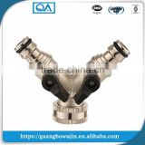 High quality brass 2 way quick hose splitter with valve