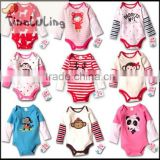 2015 new long sleeve baby rompers newborn cartoon animal baby bodysuits