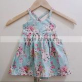 Newest Baby Frock Design Pictures Floral Patterns Dress Girls Cotton Backless Party Dresses Wear