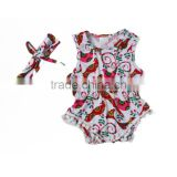 high quality factory customized prints american style pom pom one piece adult baby romper