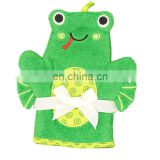 High Quality Cute Bath Gloves Washcloth 100% Cotton Terry Cloth Animal Puppet Baby Bath Mitt
