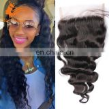 "Virgin Indian Hair Full Lace Closure Loose Wave 4x4"" Lace Closure Bleached Knots Free Part Lace Top Closure Indian Hair Vendor"