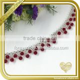 Bling handmade red crystal trim rhinestone cup chain for shoes boots decoration FC648                                                                                                         Supplier's Choice