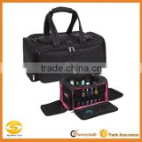 high quality custom make Makeup Artist Nail Polish Travel Bag,special design black quilted cotton nail organizer case