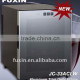 FUXIN:JC-33ALW.Wine Fridge hold 12 bottles / Celler Wine /Single wine cooler/mini beverage cooler. Aluminum Trim Door Frame