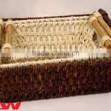 Set of 3 maize basket with wooden handle(natura and black color)