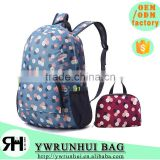 2016 NEW China factory OEM Flora design waterproof foldable day backpack, New designer school bags for teenager