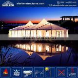 Low MOQ 850g/sqm PVC coated fabric roof cover indiana tent / jumbo exhibition kd garden party tent pavilion canopy from china