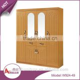 Foshan bedroom furniture wooden almirah designs cheap mirrored armoire wall mounted wardrobe with drawers