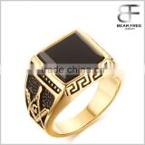 Stainless Steel Gold Plated Square Agate Vintage Masonic Signet Rings with Masonic Symbol for Men
