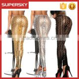 B424 Sexy Stretchy leggings Hollow Out Metallic Shiny Fish Scales Pattern Hole Leggings Women pencil pants