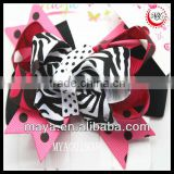 animal zebra&dot print ribbon hair bow clip girls barrette