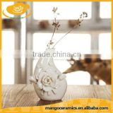 Fashionable hand made white flower vase ceramic