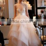 (MY0924) MARRY YOU Alibaba Bridal Gown Sheer Long Sleeve Organza Ruffle Skirt Bling Wedding Dresses