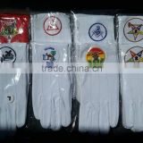 Masonic White Cotton Gloves with different Embroidery logo