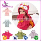 Cheap Cotton Terry Animal Shape Baby Hooded Bathrobe Wholesale Baby Bath Towels, 0-2 years old
