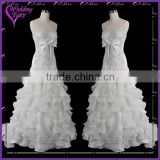 Cheap Prices!! OEM Factory Custom Design stunning asymmetrical neckline organza bridal gown
