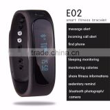 Waterproof Bluetooth Smart Activity Tracker Bracelet E02 Band Call/SMS Remind Sport Watch sync to phone Android