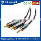 3.5mm stereo plug 2RCA stereo y splitter audio cable connect smartphone/tblet to TV/AC Receiver/HIFI Audio Amplifier/Radio